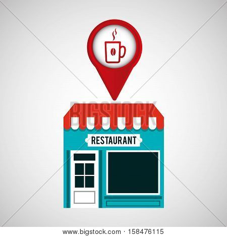 smartphone coffee store app location vector illustration eps 10