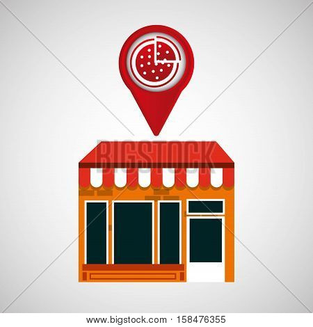 mobile phone pizza shop locater vector illustration eps 10