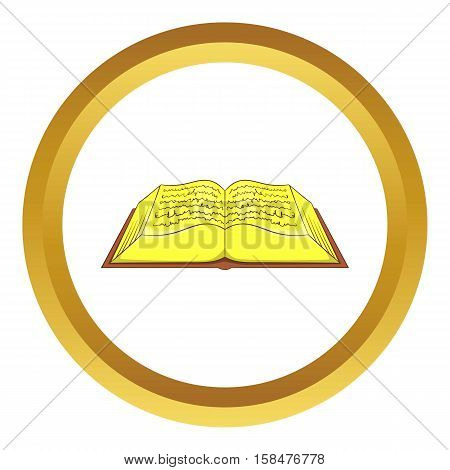 Ancient book vector icon in golden circle, cartoon style isolated on white background