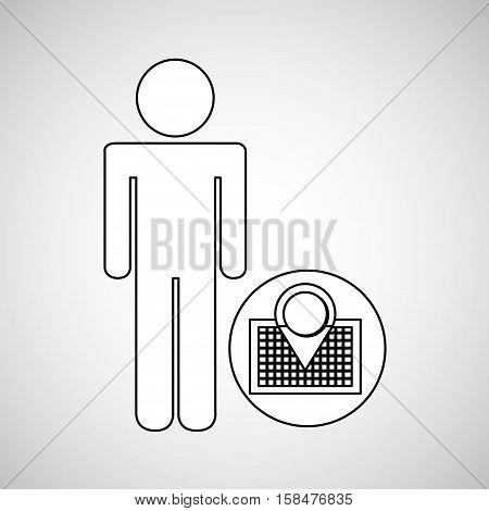 pin map locate destination icon silhouette man vector illustration eps 10