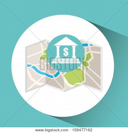 bank building map pin pointer design vector illustration eps 10