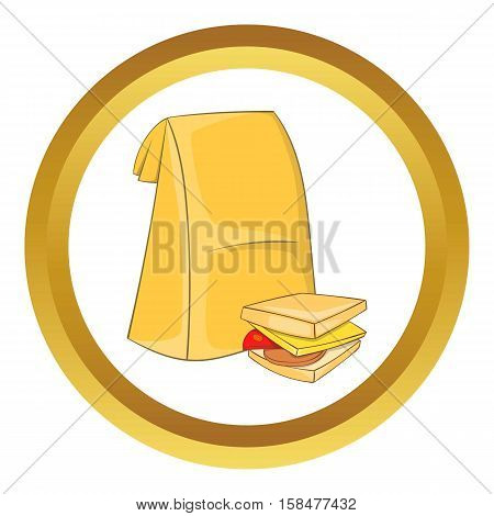 Lunch bag and sandwich vector icon in golden circle, cartoon style isolated on white background