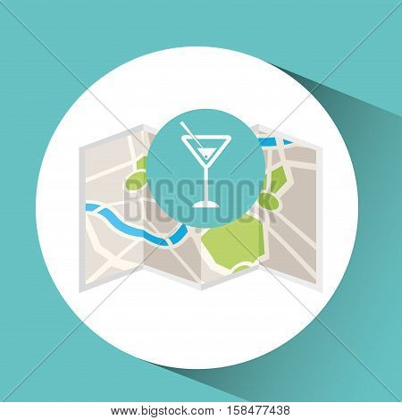 cocktail drink map pin pointer design vector illustration eps 10