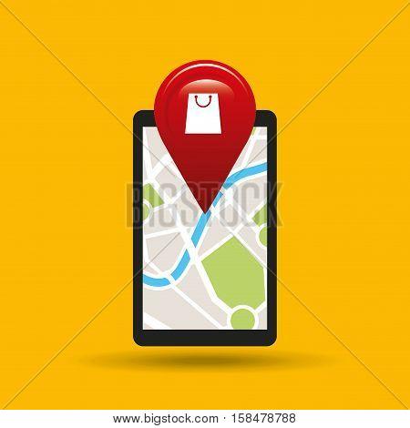 hand holds phone navigation app commerce vector illustration eps 10