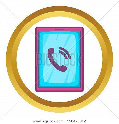Ipad vector icon in golden circle, cartoon style isolated on white background