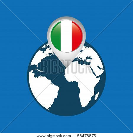 world map with pointer flag italy vector illustration eps 10