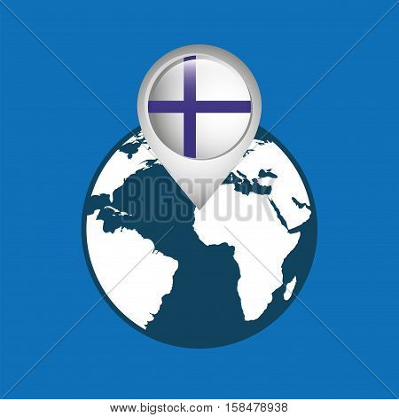 world map with pointer flag finland vector illustration eps 10