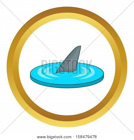 Shark fin vector icon in golden circle, cartoon style isolated on white background