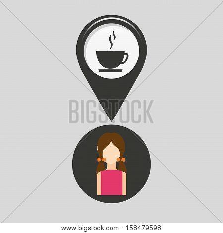 coffee shop pointer map girl design icon vector illustration