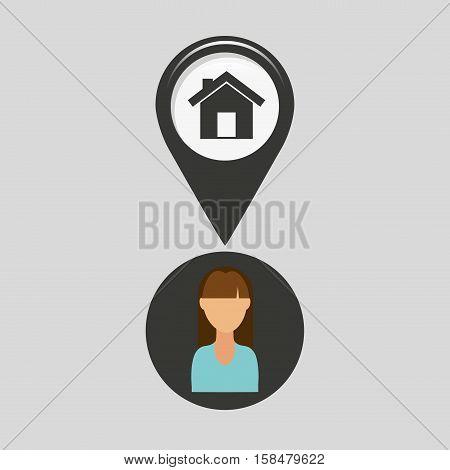 house pointer map girl design icon vector illustration