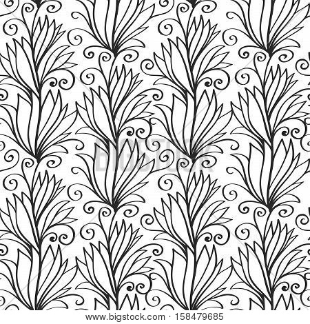 Seamless pattern of doodle hand drawn plant ornament