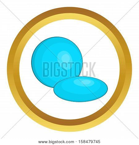 Contact lens vector icon in golden circle, cartoon style isolated on white background