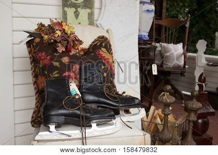 Pair of Old skates in antiques store for sale