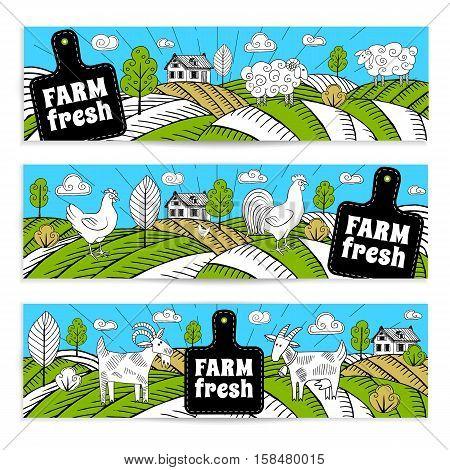 Set of stickers in sketch style, farmland, farmers, house, field, animals. Farm fresh logo, blackboard, leaf, horizontal banners. Hand drawn vector illustration