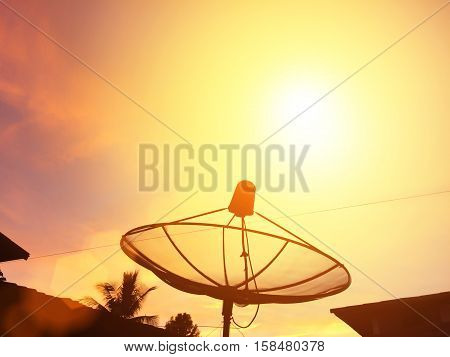 The dish antennas under sky satellite.information and communication technology.