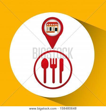 mobile phone restaurant shop locater vector illustration eps 10