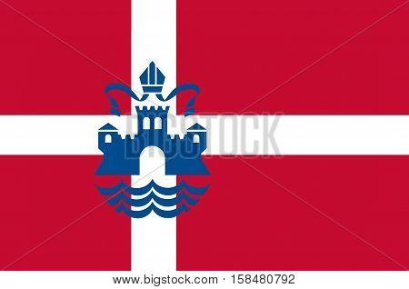 Flag of Silkeborg in Central Jutland Region in Denmark.