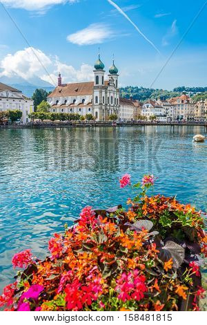 View at the Jesuit church of Luzern in Switzerland