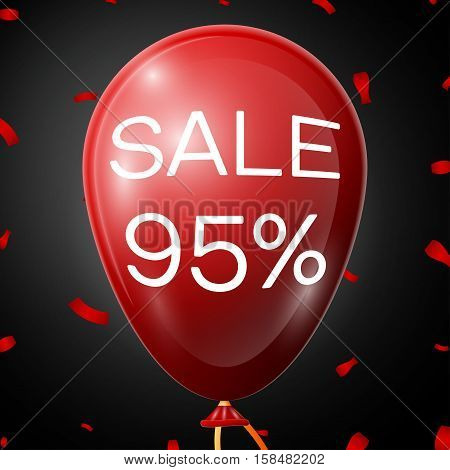 Red Baloon with 95 percent discounts over black background. Vector illustration