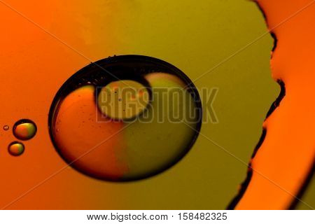 orange and olive iridescence with oil and light