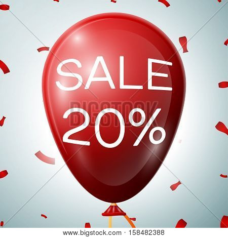 Red Balloon with 20 percent Discounts. SALE concept for shops store market, web and other commerce. Vector illustratio
