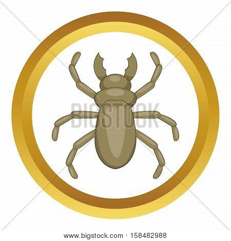 Beetle woodworm vector icon in golden circle, cartoon style isolated on white background