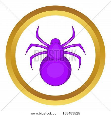 Spider vector icon in golden circle, cartoon style isolated on white background