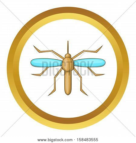 Mosquito vector icon in golden circle, cartoon style isolated on white background
