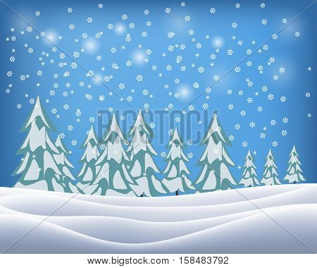 Beautiful winter landscape with snowflakes. Vector illustration