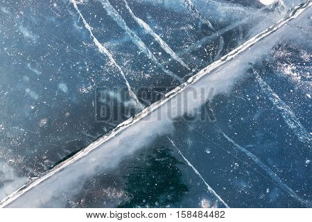 view of icy surface of baikal lake in winter