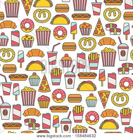 seamless pattern with fast food icons