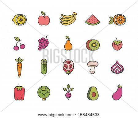 fruits and vegetables. set of minimalistic line icons