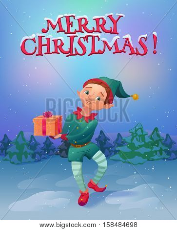 Elf holding christmas gift standing in the woods. Christmas landscape and santa's elf cartoon character. Vector illustration