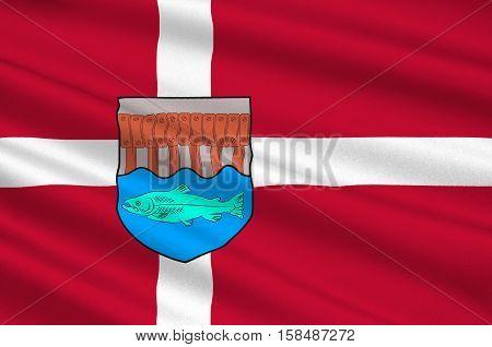 Flag of Skive in Central Jutland Region in Denmark. 3d illustration