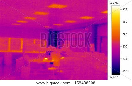Thermal image photo windows building color scale