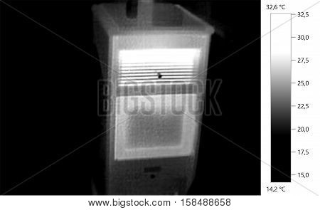 Therma image photo, pellet stove, gray scale