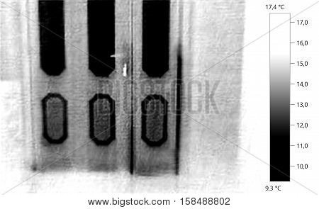 Thermal image photo door building gray scale