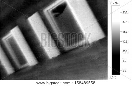 Thermal image photo windows building gray scale