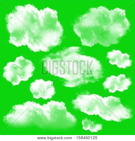 White clouds set isolated over green chromakey background 3D rendering design elements high resolution illustration