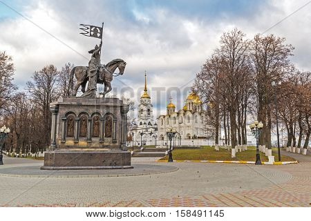 Vladimir, Russia - November 05.2015. The monument to St. Prince Vladimir and Fedor against the background of the Assumption Cathedral