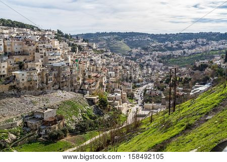 View of the Village of Siloam from the opposite hill in the East Jerusalem neighborhood of Silwan south of the Old City
