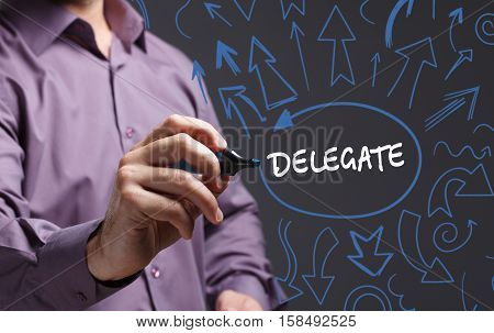 Technology, Internet, Business And Marketing. Young Business Man Writing Word: Delegate