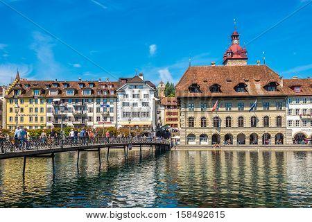LUZERN,SWITZERLAND - SEPTEMBER 3,2016 - View at the City hall in Luzern. Luzern is a city in central Switzerland.