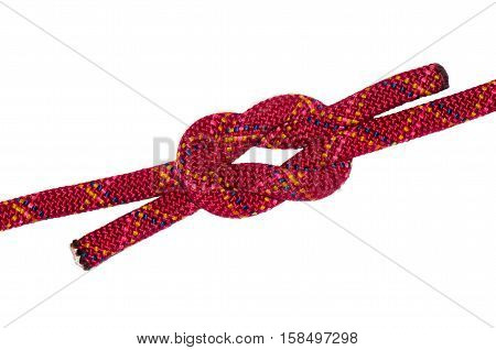 thieves knot red rope. Isolated on white background
