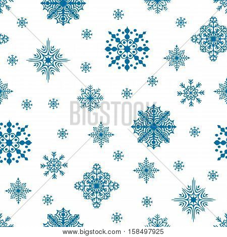 Christmas seamless pattern. Snow flakes backdrop. Tileable background for winter holidays. Graphic design element for packaging paper, prints, scrapbooking. Holiday themed design