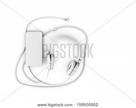 3D Illustration Of Top View Of Headphones And Phone On White Background