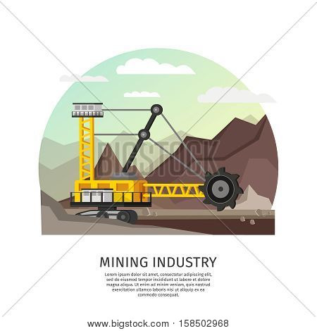 Orthogonal conceptual composition with quarrying machine in open pit landscape with sky mountains and editable text vector illustration
