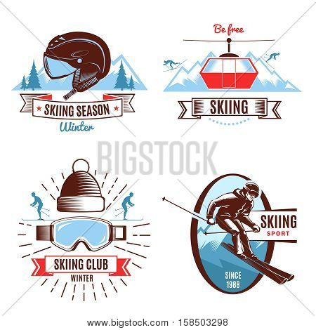 Skiing season emblems with funicular persons and mountain sports gear and design elements isolated vector illustration