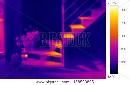 Thermal image photo, stairs building color scale