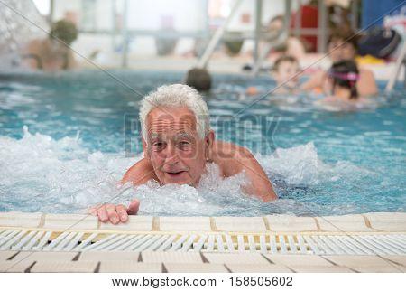 Senior Man In Jacuzzi